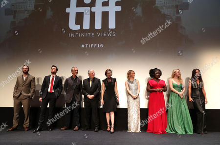 "Rupert Evans, Mark Hildreth, David Strathairn, Peter Riegert, Molly Parker, Valorie Curry, Uzo Aduba, Dakota Fanning and Jennifer Connelly are seen at Lionsgate's ""American Pastoral"" Premiere at the 2016 International Film Festival, in Toronto"