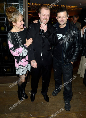 Lorraine Ashbourne, Paul Andrew Williams, Andy Serkis poses at London Film Festival The Mayfair Hotel Gala - Song for Marion After Party at The Mayfair Hotel on in London