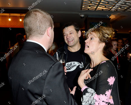 Paul Andrew Williams, Andy Serkis, Lorraine Ashbourne poses at London Film Festival The Mayfair Hotel Gala - Song for Marion After Party at The Mayfair Hotel on in London