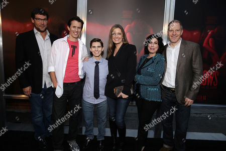 """Stock Photo of New Line Cinema's Richard Brenner, Writer/Director/Producer Travis Cluff, Writer/Director/Producer Chris Lofing, Carolyn Blackwood, Senior VP Business Affairs of New Line Cinema, Sue Kroll, President of Worldwide Marketing and International Distribution at Warner Bros. Pictures and New Line Cinema's Toby Emmerich seen at the Los Angeles Premiere of New Line Cinema """"The Gallows"""" held at Hollywood High School on"""