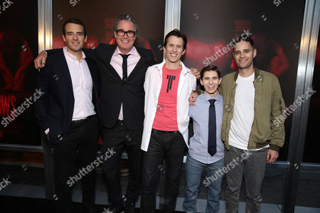 """Producer Benjamin Forkner, Producer Guymon Cassady, Writer/Director/Producer Travis Cluff, Writer/Director/Producer Chris Lofing and Producer Dean Schnider seen at the Los Angeles Premiere of New Line Cinema """"The Gallows"""" held at Hollywood High School on"""