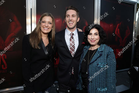 "Carolyn Blackwood, Senior VP Business Affairs of New Line Cinema, Ryan Shoos and Sue Kroll, President of Worldwide Marketing and International Distribution at Warner Bros. Pictures seen at the Los Angeles Premiere of New Line Cinema ""The Gallows"" held at Hollywood High School on"