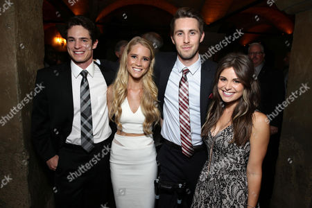 "Reese Mishler, Cassidy Gifford, Ryan Shoos and Pfeifer Brown seen at the Los Angeles Premiere of New Line Cinema ""The Gallows"" held at Hollywood High School on"