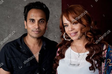 "Reggie Benjamin, left, and Faith Evans attend Reggie Benjamin's ""Mission Save Her"" recording session, in Los Angeles"