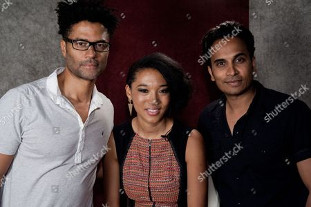 "From left, Eric Benet, Judith Hill, and Reggie Benjamin attend Reggie Benjamin's ""Mission Save Her"" recording session, in Los Angeles"