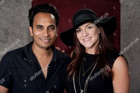 "Reggie Benjamin, left, and Shoshana Bean attend Reggie Benjamin's ""Mission Save Her"" recording session, in Los Angeles"