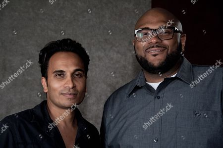 "Reggie Benjamin, left, and Ruben Studdard attend Reggie Benjamin's ""Mission Save Her"" recording session, in Los Angeles"