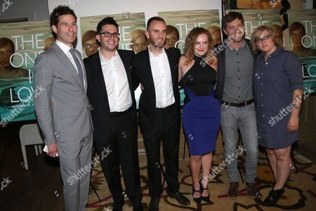 "Stock Photo of From left, RADiUS-TWC Co-President Jason Janego, actor Justin Lader, director Charlie McDowell, actress Elisabeth Moss, actor Mark Duplass, and producer Mel Eslyn attend a special screening of ""The One I Love"" at the Crosby Street Hotel on in New York"