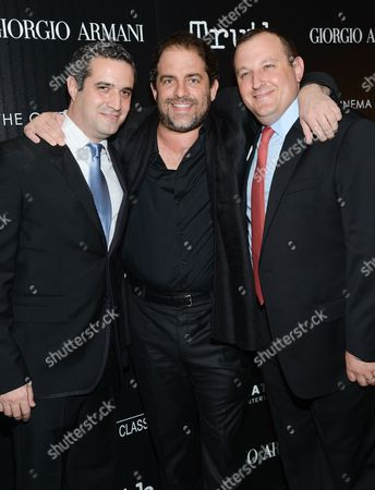 "Producers Bradley J. Fischer, left, Brett Ratner and William Sherak attend a special screening of ""Truth"" at The Museum of Modern Art, in New York"
