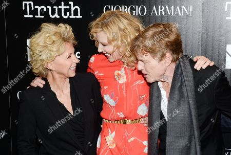 """Author Mary Mapes, from left, actress Cate Blanchett and actor Robert Redford attend a special screening of """"Truth"""" at The Museum of Modern Art, in New York"""