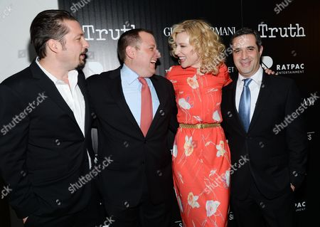 "Director James Vanderbilt, left, producer William Sherak, actress Cate Blanchett and producer Bradley J. Fischer attends a special screening of ""Truth"" at The Museum of Modern Art, in New York"