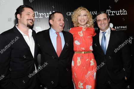 "Director James Vanderbilt, from left, producer William Sherak, actress Cate Blanchett and producer Bradley J. Fischer attends a special screening of ""Truth"" at The Museum of Modern Art, in New York"
