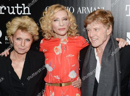 """Author Mary Mapes, left, actress Cate Blanchett and actor Robert Redford attend a special screening of """"Truth"""" at The Museum of Modern Art, in New York"""
