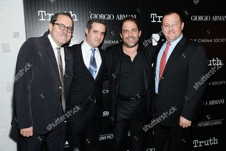 "Sony Pictures Classics co-president Michael Barker, left, and producers Bradley J. Fischer, Brett Ratner and William Sherak attend a special screening of ""Truth"" at The Museum of Modern Art, in New York"