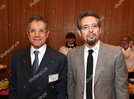 From left, Jeffrey Deitch, Director, MOCA and Andrew Perchuck, Deputy Director, Getty Research Institute pose during the Pacific Standard Time Presents: Modern Architecture in L.A. Press Preview held at Capitol Records Studios, in Los Angeles, Calif
