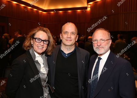 From left, Ann Philbin, Director, Hammer Museum; Michael Maltzan, Founder and Principal, Michael Maltzan Architecture and Jim Cuno, President and CEO, J. Paul Getty Trust pose during the Pacific Standard Time Presents: Modern Architecture in L.A. Press Preview held at Capitol Records Studios, in Los Angeles, Calif