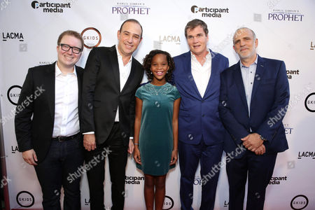 "Stock Image of Dave Jesteadt, SVP of Distribution at GKids, Producer Jose Tamez, Quvenzhane Wallis, producer Clark Peterson and Eric Beckman, Founder of GKids seen at Participant Media Special Los Angeles Screening of ""Kahlil Gibran's The Prophet"" held at LACMA's Bing Theater, in Los Angeles"