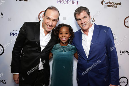 "Producer Jose Tamez, Quvenzhane Wallis and producer Clark Peterson seen at Participant Media Special Los Angeles Screening of ""Kahlil Gibran's The Prophet"" held at LACMA's Bing Theater, in Los Angeles"