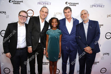 "Stock Picture of Dave Jesteadt, SVP of Distribution at GKids, Producer Jose Tamez, Quvenzhane Wallis, producer Clark Peterson and Eric Beckman, Founder of GKids seen at Participant Media Special Los Angeles Screening of ""Kahlil Gibran's The Prophet"" held at LACMA's Bing Theater, in Los Angeles"