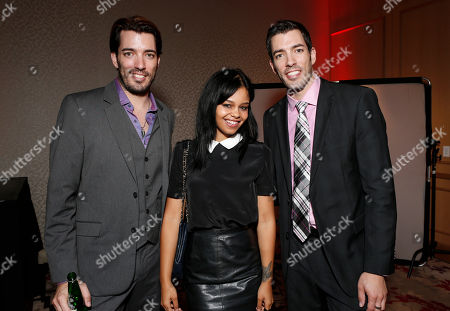 IMAGE DISTRIBUTED FOR THE PRODUCERS BALL - Drew Scott, Fefe Dobson and Jonathan Silver Scott attend the Producers Ball 2012 at the Shangri-La Toronto, in Toronto, Canada