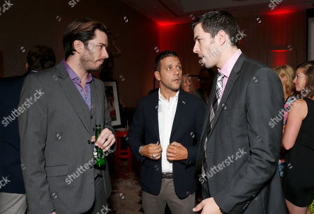 Drew Scott, George Stroumboulopoulos and Jonathan Silver Scott attend the Producers Ball 2012 at the Shangri-La Toronto, in Toronto, Canada