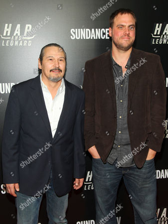 """Nick Damici, left, and Jim Mickle, right, attend the premiere party for Sundance TV's originally scripted series, """"Hap and Leonard"""", at Hill Country, in New York"""