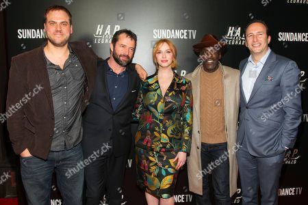 """Jim Mickle, from left, James Purefoy, Christina Hendricks, Michael Kenneth Williams and Charlie Collier attend the premiere party for Sundance TV's originally scripted series, """"Hap and Leonard"""", at Hill Country, in New York"""