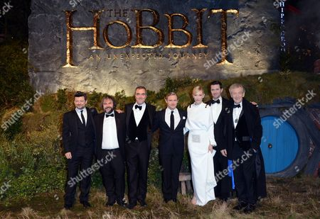 From left, Andy Serkis, Sir Peter Jackson, James Nesbitt, Martin Freeman, Cate Blanchett, Richard Armitage and Sir Ian McKellan seen at the UK premiere of The Hobbit: An Unexpected Journey at The Odeon Leicester Square, in London