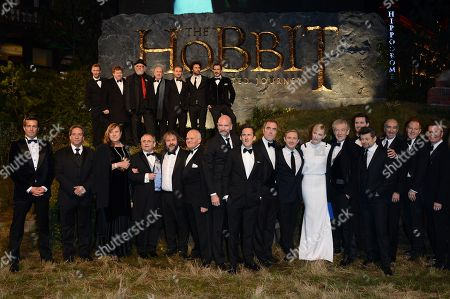 The cast of the movie including, front row from left, Sylvester McCoy, Peter Jackson, John Callen, Grahham McTavish, Adam Brown, James Nesbitt, Martin Freeman, Cate Blanchett, Sir Ian McKellen, Andy Serkis, Christopher Lee and top row from left, Jes Brophy, Stephen HunteR, Peter Hambleton, Dean O'Gorman, Aidan Turner and William Kircher seen at the UK premiere of The Hobbit: An Unexpected Journey at The Odeon Leicester Square, in London