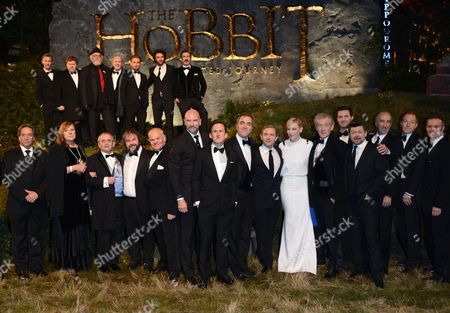 The cast of the movie including, front row from left, Sylvester McCoy, Peter Jackson, John Callen, Grahham McTavish, Adam Brown, James Nesbitt, Martin Freeman, Cate Blanchett, Ian McKellan, Andy Serkis, Christopher Lee and top row from left, Jes Brophy, Stephen Hunter, Peter Hambleton, Dean O'Gorman, Aidan Turner and William Kircher seen at the UK premiere of The Hobbit: An Unexpected Journey at The Odeon Leicester Square, in London
