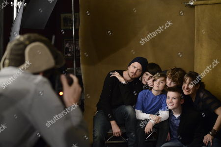 Stock Photo of From left, actors Aaron Paul, Camron Owens, Deke Garner, Dylan Cole, Josh Wiggins, and director Kat Candler seen at The Hollywood Reporter Lounge, on in Park City, Utah