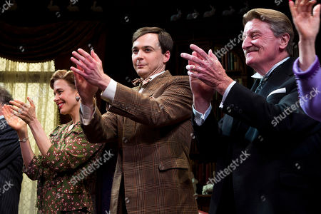 "Jessica Hecht, left, Jim Parsons and Charles Kimbrough appear at the curtain call for the opening night performance of the Broadway play ""Harvey"" on in New York"
