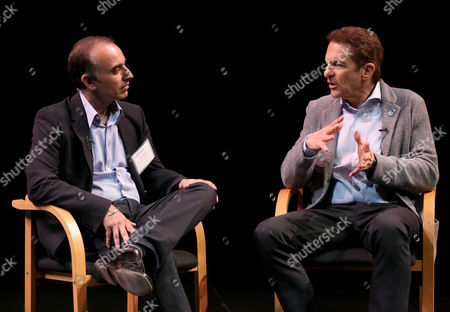 UCLA Anderson professor Sanjay Sood, left, chats with Peter Guber, CEO, Mandalay Entertainment, on the current state of the entertainment industry and its outlook at the UCLA Anderson Forecast at the Kirk Douglas Theatre, in Culver City, Calif