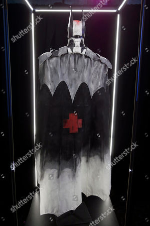 """A Cape and Cowel created by Frank Iero at Warner Bros. Interactive Entertainment's â?˜Cape/Cowl/Create' event in downtown San Diego â?"""" a celebration of the iconic character's 75th anniversary and the upcoming release of Batman: Arkham Knight, during Comic-Con International 2014 at Hard Rock Hotel San Diego on in San Diego, California"""