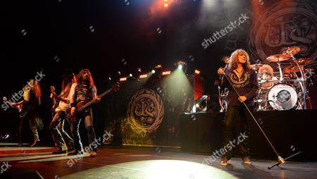 Joel Hoekstra, Michael Devin David Coverdale and Tommy Aldridge of Whitesnake perform at the Hard Rock Live at Seminole Hard Rock Hotel & Casino on Thursday, Aug. 6, 2015 in Hollywood, Fla