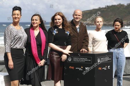 Stock Image of (L-R) Actors and castmembers Katja Kolm, Austrian writer and producer Barbara Albert and Maria Dragus, Lukas Miko, Susanne Wuest and Maresi Riegner pose after the presentation of the film 'Mademoiselle paradis' at the San Sebastian International Film Festival, in San Sebastian, Spain, 25 September 2017. The San Sebastian International Film Festiva runs from from 22 to 30 September.