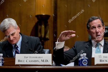 Bill Cassidy, Rick Santorum. Former Pennsylvania Senator Rick Santorum, right, accompanSenatorby Sen. Bill Cassidy, R-La., left, speaks during a Senate Finance Committee hearing to consider the Graham-Cassidy healthcare proposal, on Capitol Hill, in Washington