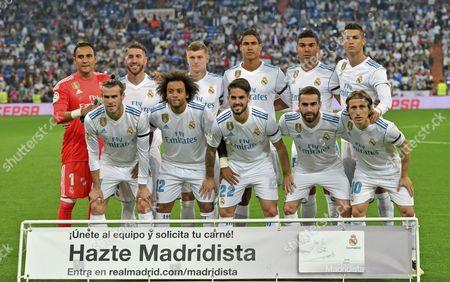 Team of Real Madrid standing from left: Keylor Navas--Sergio Ramos--Toni Kroos--Raphael Varane--Carlos Henrique CASEMIRO--Cristiano Ronaldo  down from left: Gareth Bale--MARCELO Vieira da Silva jr--Francisco Alarcon ISCO--Dani Carvajal--Luka Modric