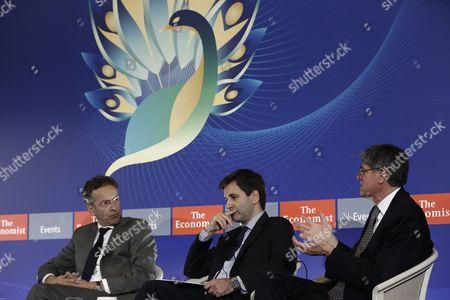 Stock Photo of Jeroen Dijsselbloem, Jack Lew and George Chouliarakis