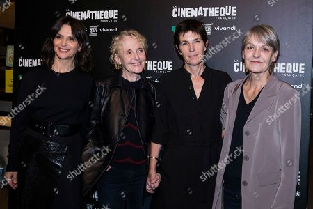 "From left, actress Juliette Binoche, director Claire Denis, novelist Christine Angot and director of photography Agnes Godard attend a premiere of ""Un Beau Soleil Interieur"" in Paris, France"