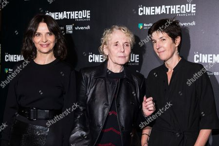 "From left, actress Juliette Binoche, director Claire Denis and novelist Christine Angot attend a premiere of ""Un Beau Soleil Interieur"" in Paris, France"