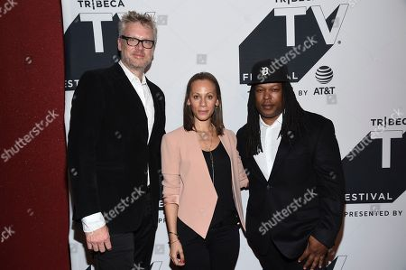 """Jon Sinclair, Keayr Braxton, Shaka Senghor. Executive vice president of Programming and Development for OWN, Jon Sinclair, left, producer Keayr Braxton and author Shaka Senghor attend the """"Released"""" special screening during the Tribeca TV Festival at Cinepolis Chelsea at, in New York"""