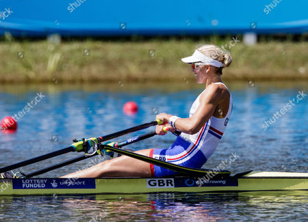 Stock Photo of Victoria Thornley of team Great Britain during (W1x) Women's Single Sculls - Heat in the World Rowing Championships being held at Nathan Benderson Park in Sarasota-Bradenton, Florida