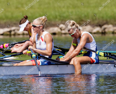 Stock Image of Kristyna Fleissnerova and Lenka Antosova of team Czech Republic during (W2x) Women's Double Sculls - Heat in the World Rowing Championships being held at Nathan Benderson Park in Sarasota-Bradenton, Florida