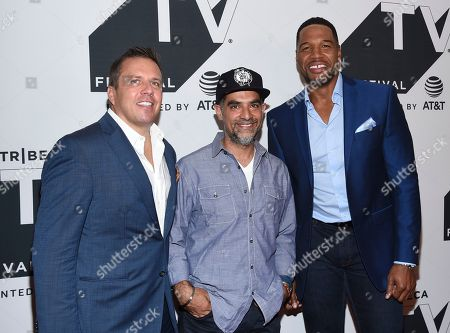 """Stock Image of Christopher Long, Gotham Chopra, Michael Strahan. Head of audience network at AT&T Christopher Long, left, author Gotham Chopra and television personality Michael Strahan attend a special screening of """"Religion of Sports"""" during the Tribeca TV Festival at Cinepolis Chelsea at, in New York"""