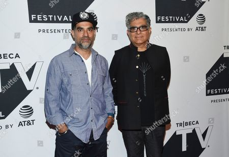 "Gotham Chopra, Deepak Chopra. Authors Gotham Chopra, left, and father Deepak Chopra attend a special screening of ""Religion of Sports"" during the Tribeca TV Festival at Cinepolis Chelsea at, in New York"