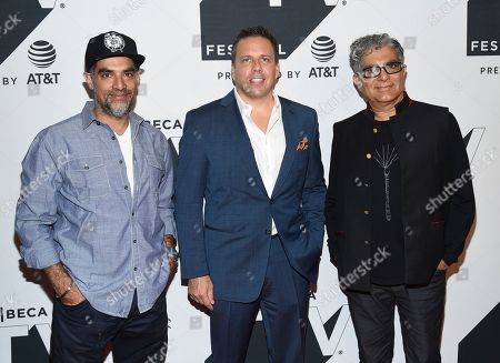 "Gotham Chopra, Christopher Long, Deepak Chopra. Gotham Chopra, left, Christopher Long and Deepak Chopra attend a special screening of ""Religion of Sports"" during the Tribeca TV Festival at Cinepolis Chelsea at, in New York"
