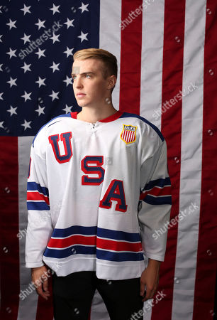 United States Olympic Winter Games ice hockey's Troy Terry poses for a portrait at the 2017 Team USA Media Summit, in Park City, Utah