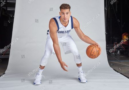 Stock Image of Dallas Mavericks forward Dwight Powell #7 poses during the Dallas Mavericks Media Day held at the American Airlines Center in Dallas, TX