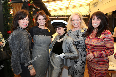 "Stock Photo of From left, Deborah Gunn Downing, Vanessa Silvan, actress Susan Claassen, playing Edith Head, Anne Crawford and Tina Borgatta pose during a luncheon to celebrate ""Conversations with Edith Head"", a one woman play about the greatest costume designer of all time held at Marche Moderne restaurant in South Coast Plaza at South Coast Plaza, in Costa Mesa, Calif"